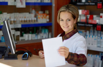 pharmacist showing paper